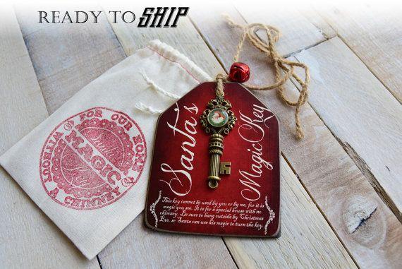 Santa's Magic Key Wood Tag Santa Key Christmas Key by BornOnBonn