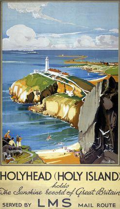 Caergybi WALES Vintage Travel - Holyhead, Wales - Vintage Railway Poster LMS