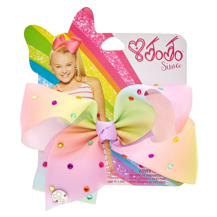 <P>Get the ultimate JoJo Siwa super fan bow with this small rainbow ombre signature hair bow from the JoJo Siwa collection. The bow has been attached to a metal salon clip making it really easy to wear and has been covered in pretty multi-coloured rhinestones so you will sparkle from head to toe.</P><UL><LI>JoJo Siwa collection <LI>Large rainbow rhinestone bow <LI>Metal salon clip<LI&a...