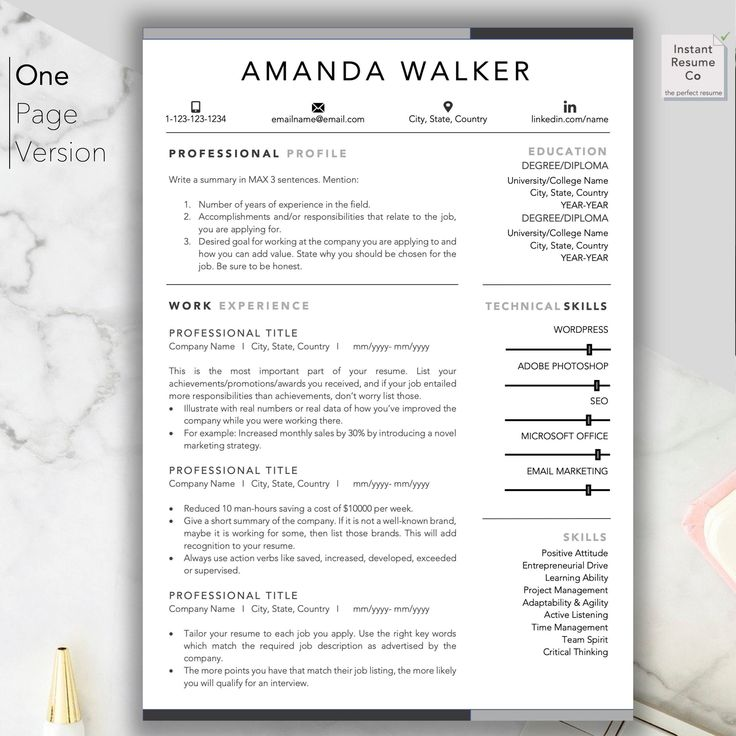 Marketing Manager Professional Resume Template Creative CV