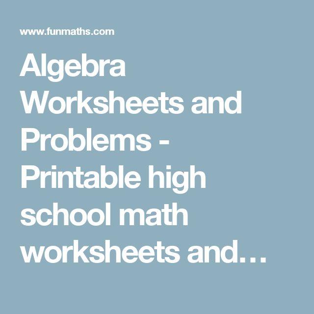 High school algebra 2 printable worksheets