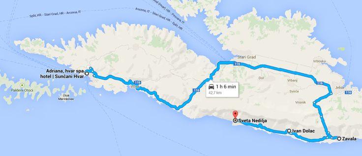 Rota Hvar - Zavala - Ivan Dolac - Sveta Nedjelja traçada no Google Maps