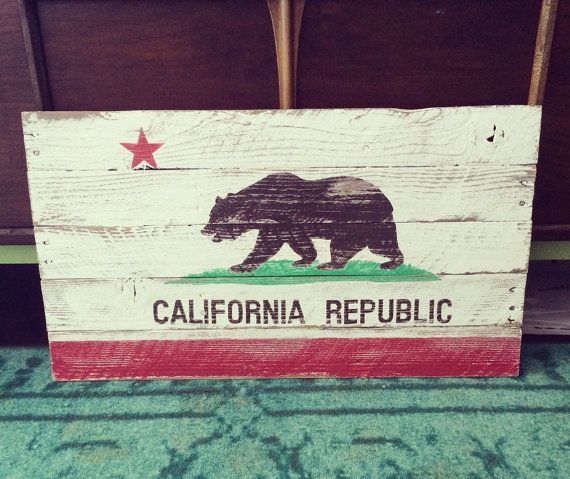Reclaimed wood California flag by partyof9 on Etsy