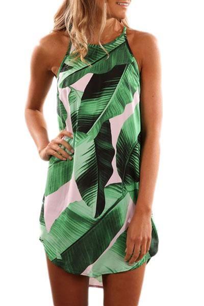 Green Leaf Print Sleeveless Summer Dress modeshe.com