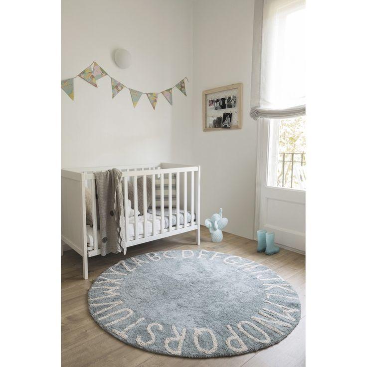 """Kinderteppich rund mit Buchstaben """"Round ABC"""", blau-natural, 150 cm, 100% Baumwolle, waschbar, Lorena Canals"""
