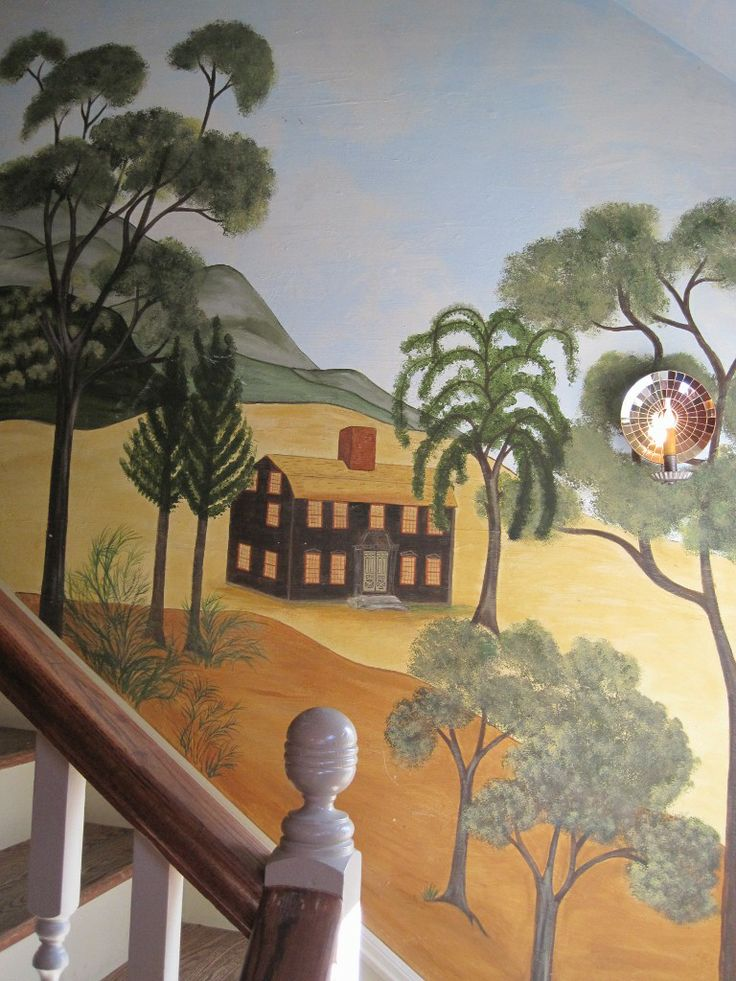 366 best images about folk art art on pinterest murals for Country wall mural