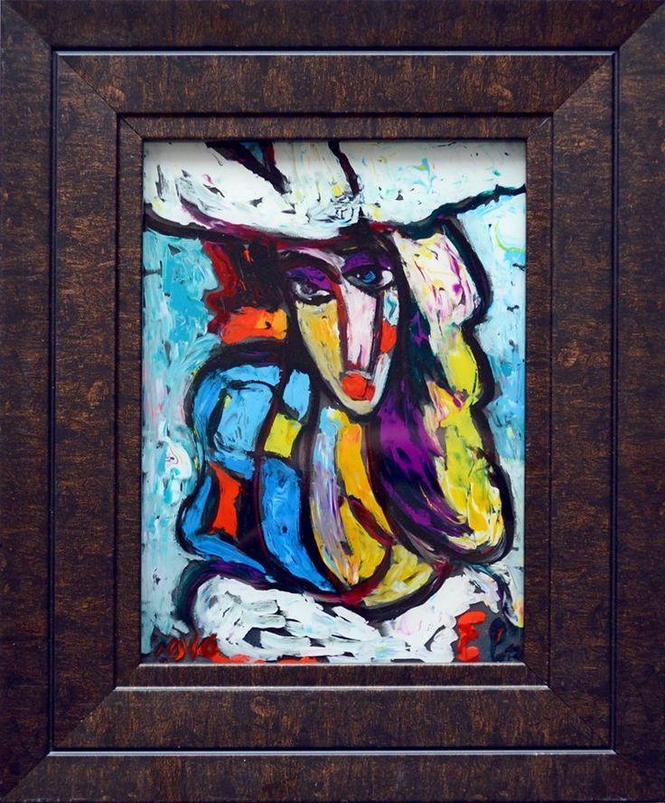 Девушка в белой шляпе  стекло, м. 19х14 7,5 т.р.