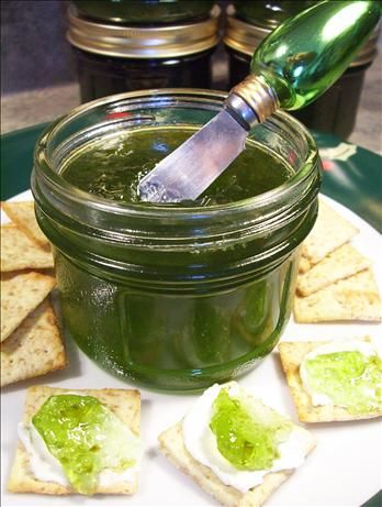 """Hot Pepper Jelly from Food.com: This recipe is from """"Company's Coming"""" Canning book. It is an easy excellent recipe. I double the jalapeno asked for and I like to leave wee flakes of peppers floating in the jelly. If I use red peppers I use a drop of red food dye and if green well, what else, green"""