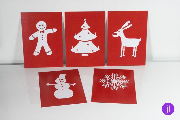 """5er Set Weihnachtspostkarten """"Scherenschnitt"""" von Jessica Lorenz Design auf DaWanda.com"""