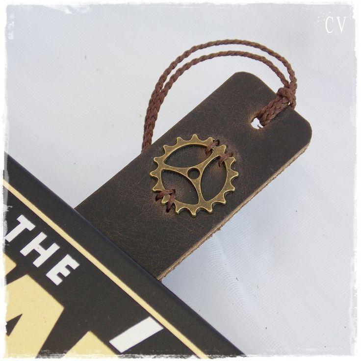 Steampunk Leather Bookmark, Engineer's Graduation Gift, Clock Cog Bookmark, Student Bookmark, Teacher's Gift Favor