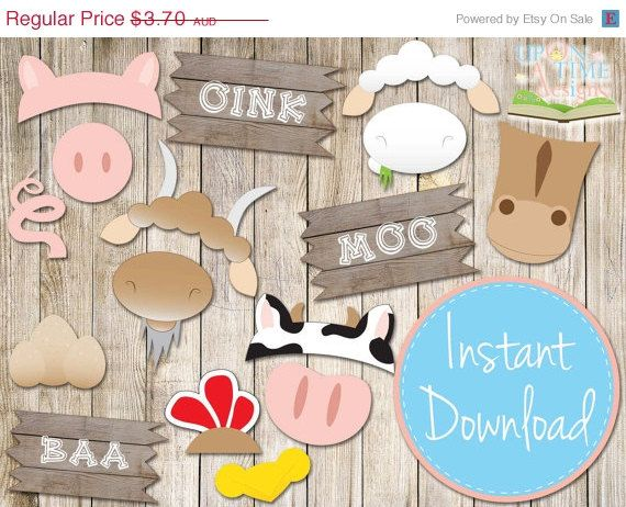 20% OFF SALE INSTANT Download - Barnyard Photo booth Props - Printable - Farm Animals, Barn Props