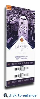 Capture your memory of Kobe Bryant's Final NBA Game (4/13/16) with this Mega Ticket. Overall size: 14 (W) x 32 (H) x 3/4 (D). Officially licensed by the NBA, Mega Tickets are sports history turned into unique wall art. They are created from actual game tickets, enlarged approximately 500%, printed on archival canvas and hand wrapped on wooden stretcher bars. Perfect for autographs. Available in two sizes. 10 x 23 x 3/4 and 14 x 32 x 3/4. Were you at this Game? We can personalize it with your…