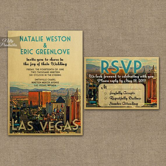 Las Vegas Wedding Invitation - Printable Vintage Vegas Wedding Invites - Retro Wedding Set or Solo VTW