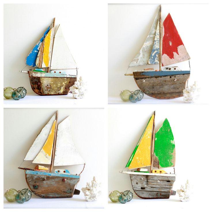 Hand made Driftwood boats make great Xmas pressies. For sale at Coastal Vintage