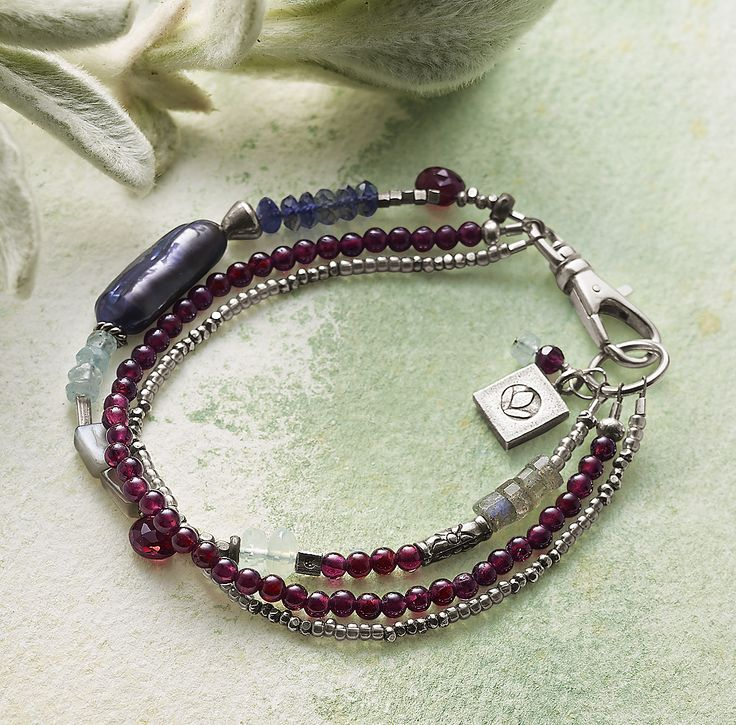 Peacock Pearl & Partners Bracelet - handmade garnet, sterling and gemstone bracelet.