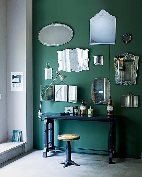 I LOVE the antique mirror wall. It's brilliant for opening up little spaces and for bringing light into a room.: Wall Colors, Vintage Mirror, Mirror Mirror, Green Walls, Paintings Colors, Living Room, Mirrormirror, Green Rooms, Dark Green Wall