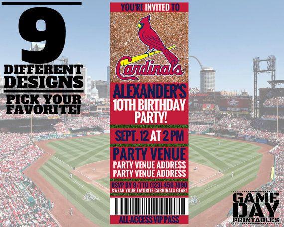 St Louis Cardinals Birthday Invitation by GamedayPrintable Baby - baseball flyer