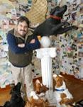 Folk artist Stephen Huneck, whose whimsical paintings, sculptures and woodcut prints of dogs celebrated his love of animals and won him a worldwide fan baseFans Based, Artists Stephen, Whimsical Painting, Stephen Huneck, Worldwide Fans, Dogs Celebrities, Folk Artists, Woodcut Prints