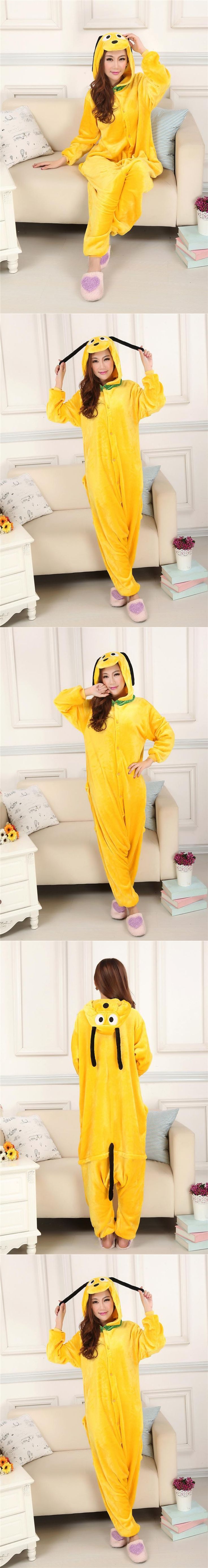 New Adult Animal Pluto Pajamas Set Sleepsuit Children Yellow Dog Onesies Sleepwear Unisex Pyjamas