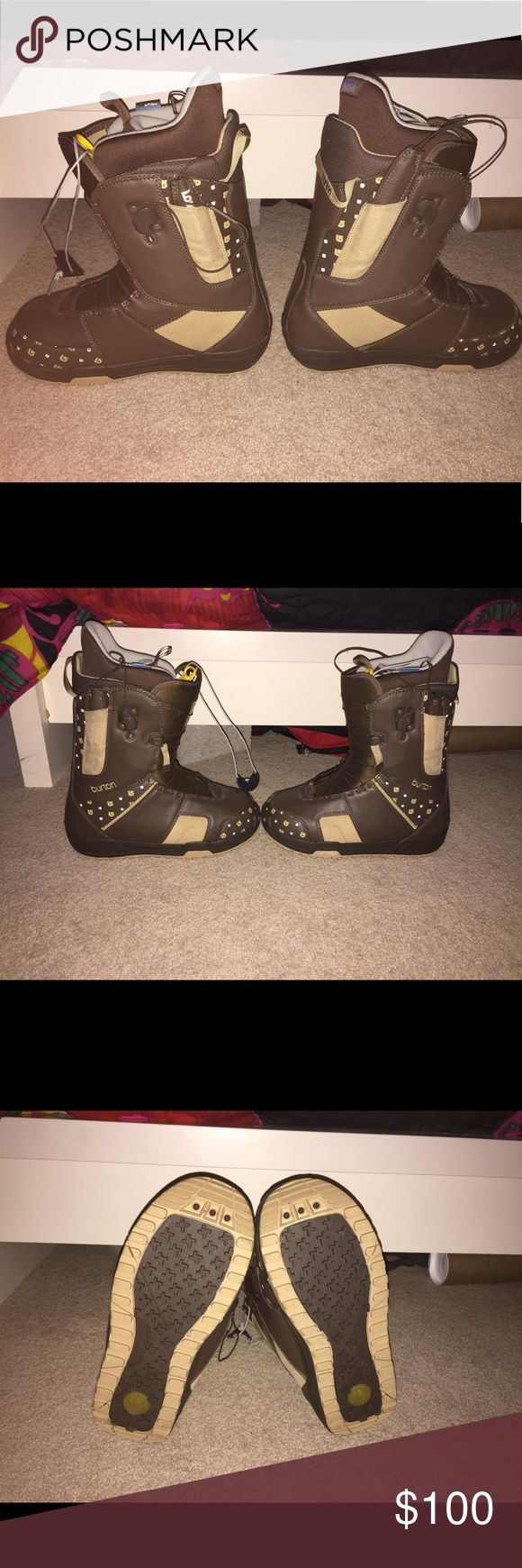Burton women's snowboard boots Brown women's snowboard boots. Burton brand. Worn once and were too small for my feet. Pull tie technology with no lacing or tying required. They are awesome boots I wish they fit me. Burton Shoes Winter & Rain Boots