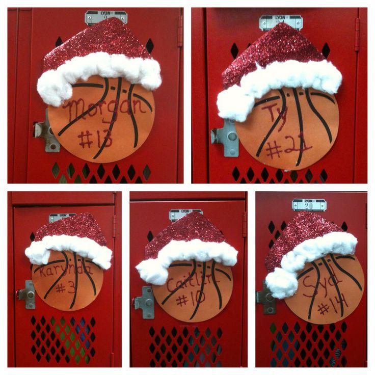 Santa hat locker decorations