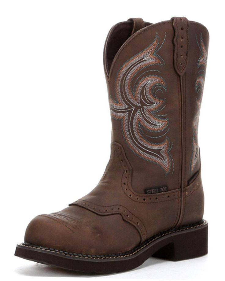 The Aged Bark Waterproof Steel Toe Boot by Justin is a fantastic boot for the work-ready cowgirl. Genuine leather, diamond-cut pull straps, and a round steel toe toe make it great for protecting your feet and looking pretty. The J-Flex system and a removable orthotic insole provide all day comfort. With almost no break in period and a cute stitched design, you won't want to take these off!Justin work boots have been known for their durability, style, and comfort since day one and it's easy…