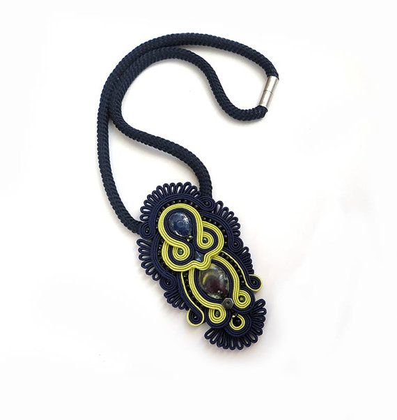 Navy blue lime necklace soutache OOAK statement by sutaszula