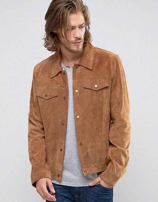 Mens Tan Suede Leather Jacket Shirt Size S M L XL XXL Custom Fit Available FREE #Zakiz #Motorcycle