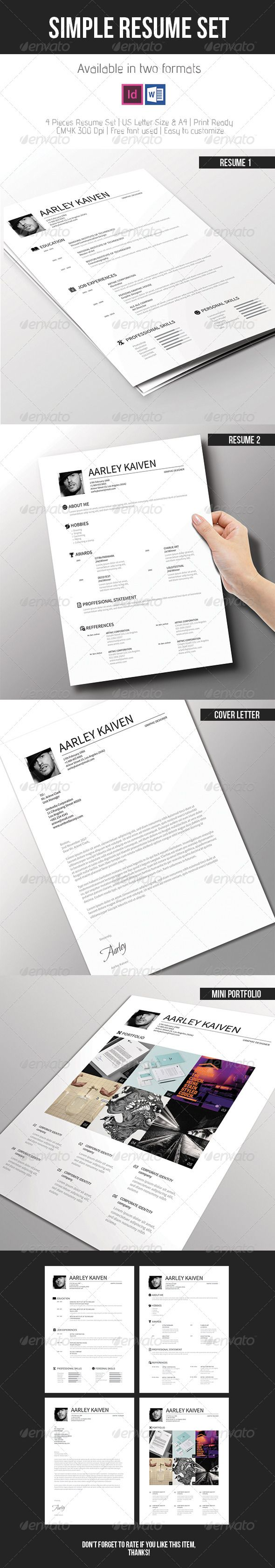 Simple Resume Set — InDesign INDD #resume set #business • Available here → https://graphicriver.net/item/simple-resume-set/7618975?ref=pxcr