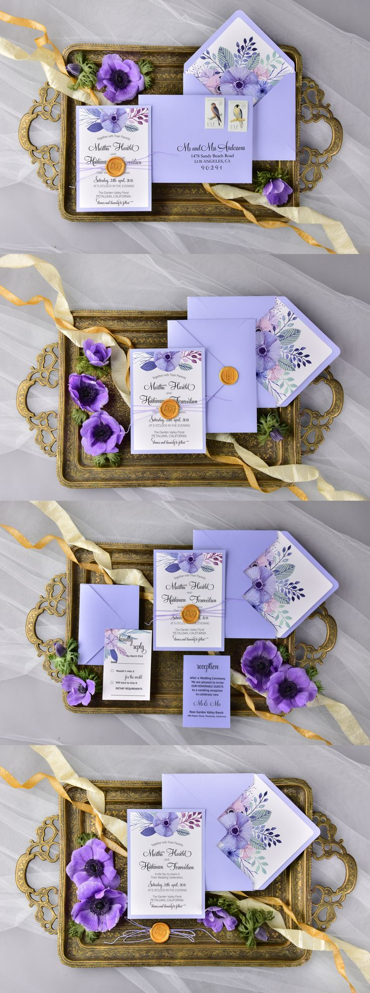 Lavender purple watercolor wedding invitations #purplewedding