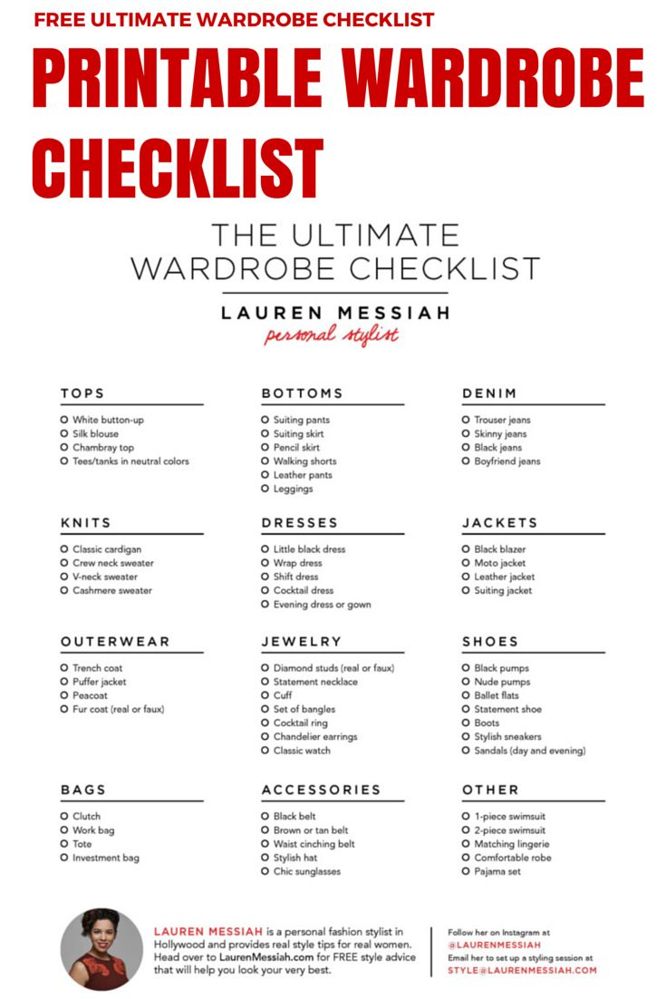 High Quality FREE Checklist For The Ultimate Wardrobe Stocked With All Of The Key Closet  Staples.