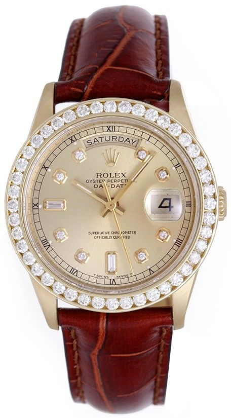 Rolex President Day-Date Automatic Winding Men's 18k Yellow Gold Diamond Watch
