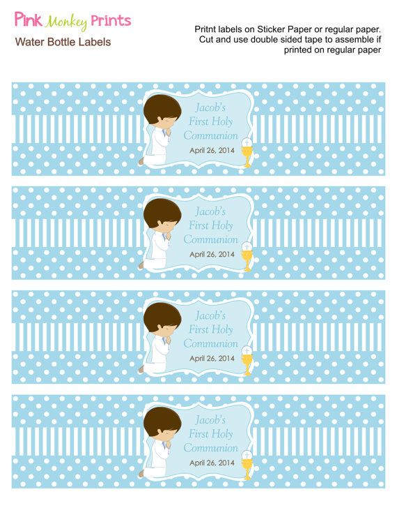 DIY Boy First Communion Water Bottle Labels by PinkMonkeyPrints
