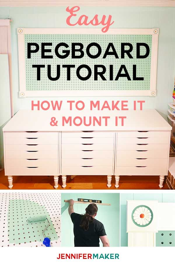 Large Framed Pegboard DIY Tutorial   How to Hang on Wall of Craft Room   Mounting Instructions   #pegboard #craftroom #organization