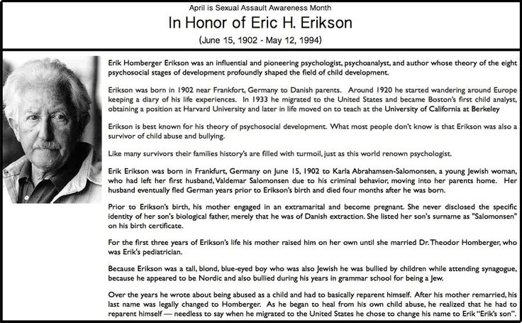 erik erikson's eight developmental stages Erikson's stages of development chart the most widely accepted theory of how human beings develop from infancy to old age is erik erikson's stages of psychosocial development at each stage, there is a crisis to be resolved and a virtue to be gained.