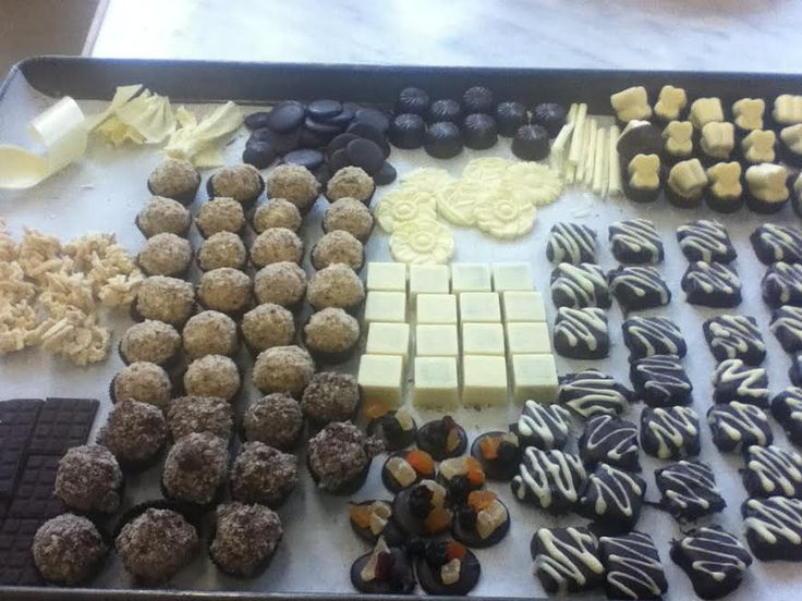 My whole chocolate collection: curls, cigarettes, fans, molds, solid molds, truffles, knackerli, caramel mous, lego, almond clusters. April.2016
