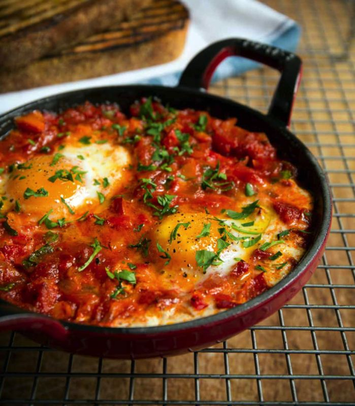 "Baked eggs recipe with Chorizo by professional chef Hayden Groves, taken from 'Back in the saddle"" cookbook    #eggs #eggporn #bakedeggs #shakshuka #chorizo #brunch #breakfast #recipes #chefs"