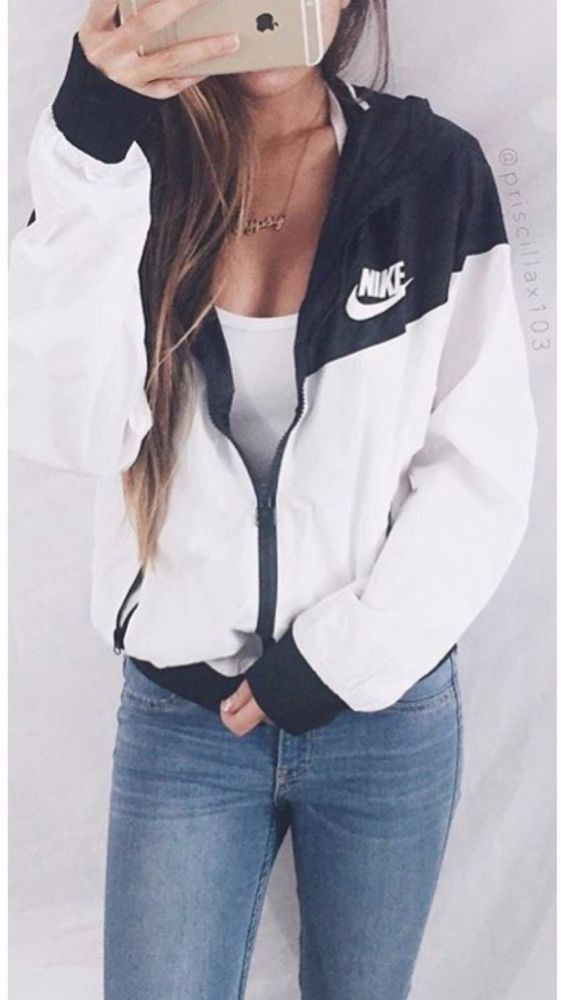 7231fffbb919 Nike Women Windrunner Windbreaker Black   White Sport Hooded Sweater Jacket  NWT in 2019