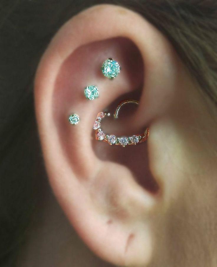 Cute Ear Piercing Ideas at MyBodiArt.com - Constellation Piercing - Heart Rook Earring Hoop - Helix Cartilage Earring Studs - MyBodiArt.com