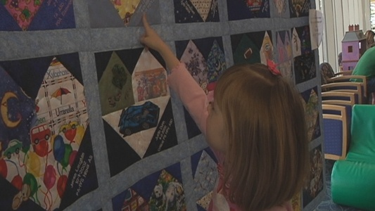 """http://triangle.news14.com  A nationwide traveling quilt made a stop at Duke Children's Hospital to bring awareness to a special group of people.  The patches honor people born with Congenital heart defects, a leading cause of infant death. According to the CDC, about 40,000 babies are born in the U.S. with a heart defect each year.  """"I had heart surgery like the other kids,"""" said Sydnie Smith, 7, who saw her heart-shaped patch in the quilt for the first time.  Her family watched Sydnie…"""