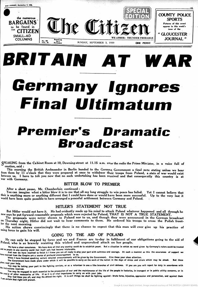 The Gloucester Citizen announces the start of WW2