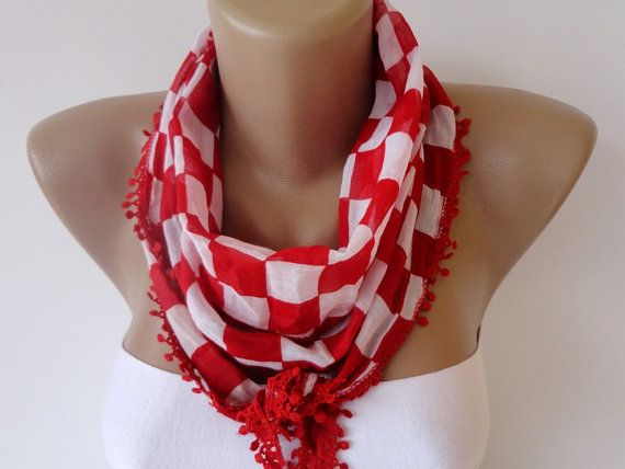 red plaid scarf  women scarves  cotton fabric by scarvesCHIC, $8.50