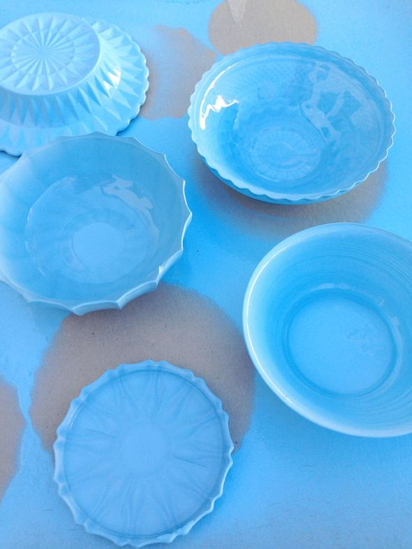 DIY blue French opaline milk glass using spray paint and thrift store glass dishes - LGN