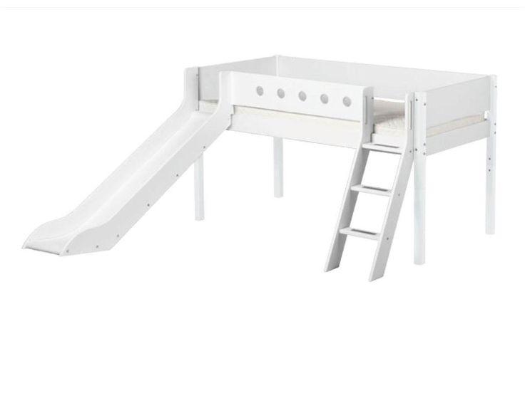 Hochbett, Flexa White, Spielbett mit Rutsche, schräge Leiter, Weiß
