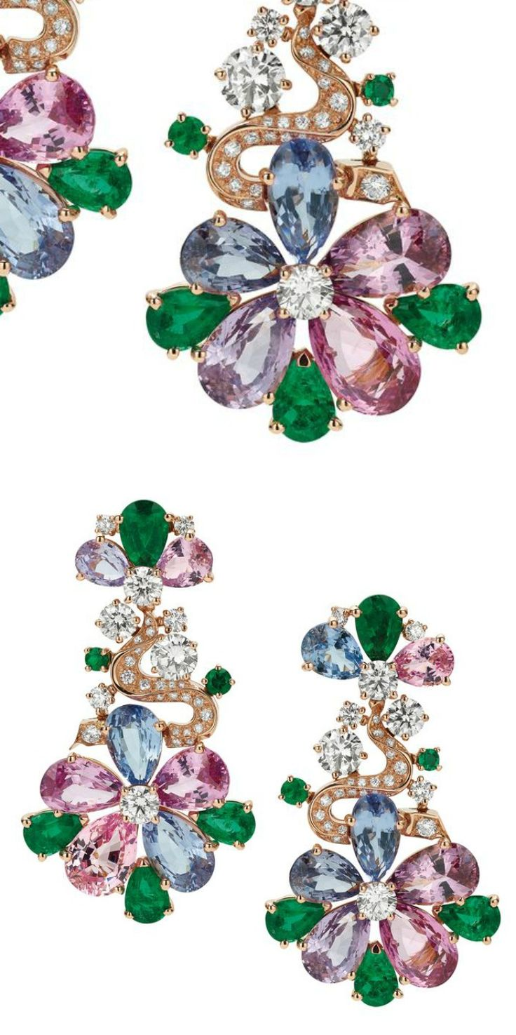 Spinels, emeralds and diamonds in a floral motif define these Bulgari earrings from the Mediterranean Eden collection (