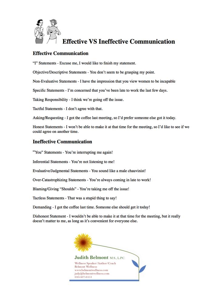 Effective vs Ineffective communication - for more life skills handouts visit www.belmontwellness.com