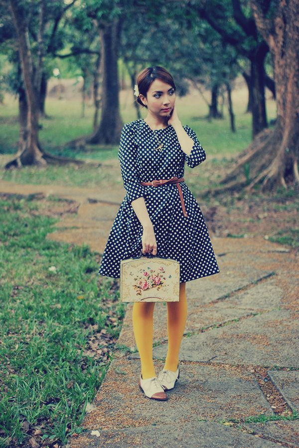 Mustard Tights and a Polka Dot Dress