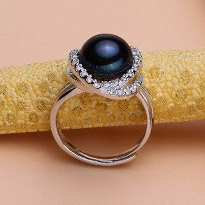 Black pearl ring 11-12mm freshwater pearl women mother's day adjustable ring