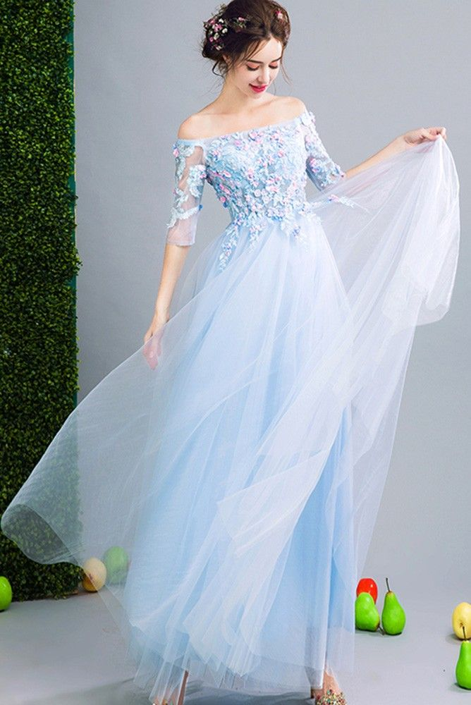 c485762a023 Shop cheap Fairy Blue Floral Prom Dress Beaded With Off Shoulder Sleeves  online. Custom-made any plus size or color. Pro since 2009.