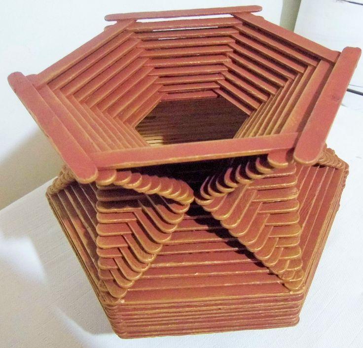 Jarron elaborado con palitos de helado t cnicas sobre - Trabajos manuales en madera ...